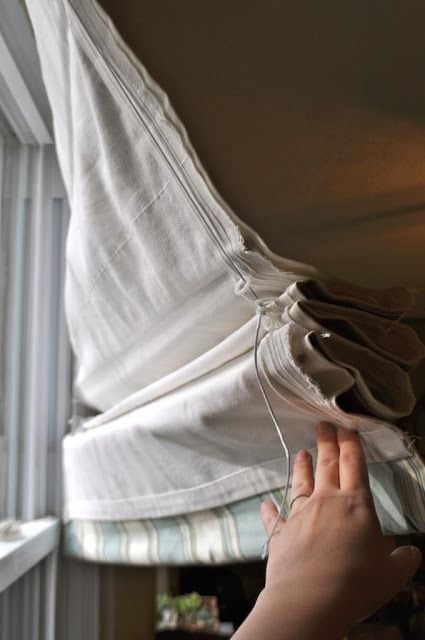 No Sew Lined Roman Shades Made Using Both Rod Sleeves And