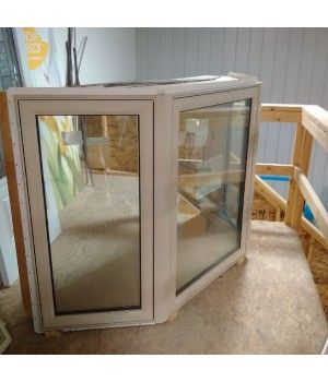"""71 1/2"""" x 46 5/8"""" Repella Bay Window  COLOR: Beige  45 degree Bay with Oak head and seat  No Openers  Dual Pane Sungate 500 LowE with Argon  Can be shipped within 1 - 2 business days"""