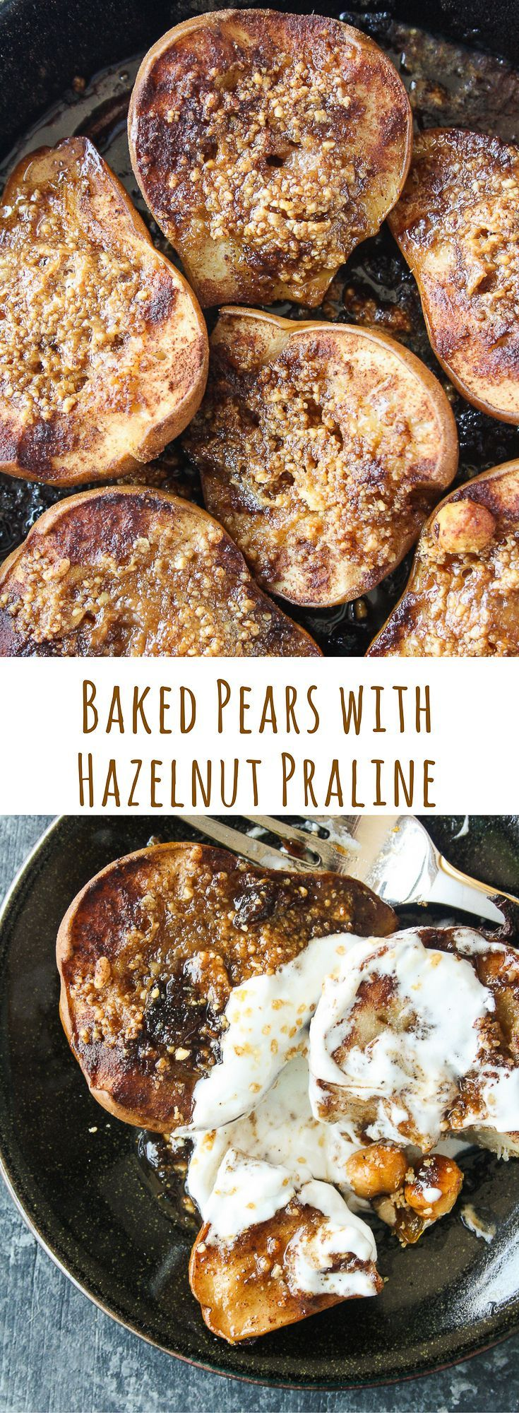 Soft, juicy, spiced baked pears stuffed with hazelnut praline and topped with cream!