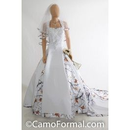 Satin and Camo.  A-line Halter Wedding Dress with Camo Godets and Cathedral Train.Lace applique on front bodice and halter strapsSizes 2-30.Pictured in White Satin and APG RealtreeeAvailable in many satin colors and all camo patterns.Made in the USA. Camo Wedding Outdoor Weddings Country Hunters
