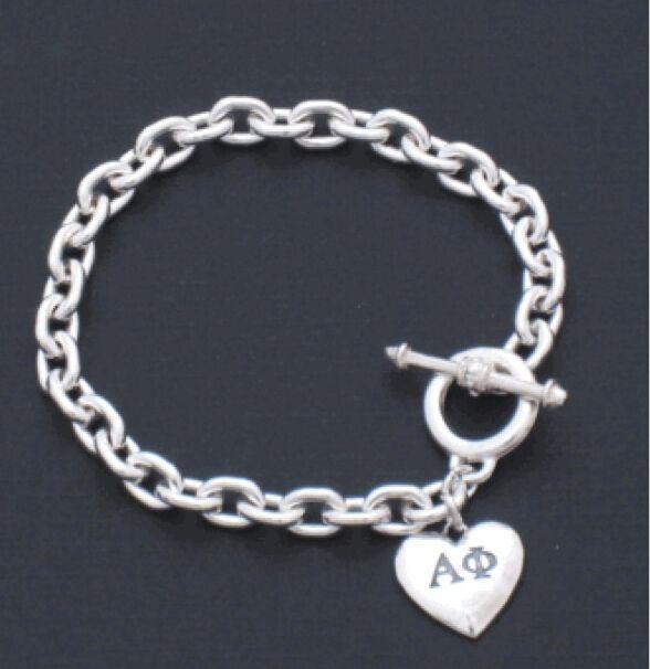 Альфа фи женского общества в форме сердца любовь подвески браслет греческий sorotiry на заказ браслет ювелирные изделия 1 шт.