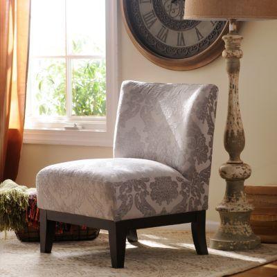 Gray Damask Slipper Chair | Kirklands