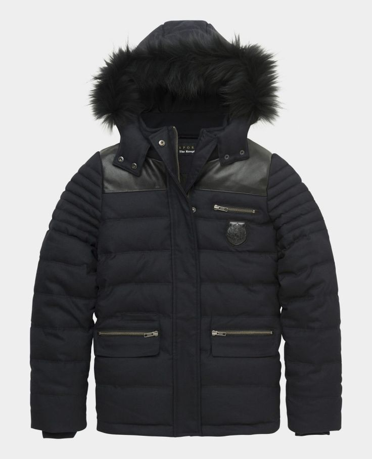 Flannel down jacket with leather and fur detail; kooples