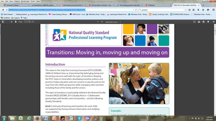 This pin considers children transitioning from home to early childhood settings and this relates to the concept of the influential nature of parent educator collaboration to support children during this time. This concept is supported by 'The Early Years Learning Framework', (DEEWR, 2009) which illistrates children 'use effective routines to make predicted transitions smoothly' (p. 21). https://www.coag.gov.au/sites/default/files/early_years_learning_framework.pdf