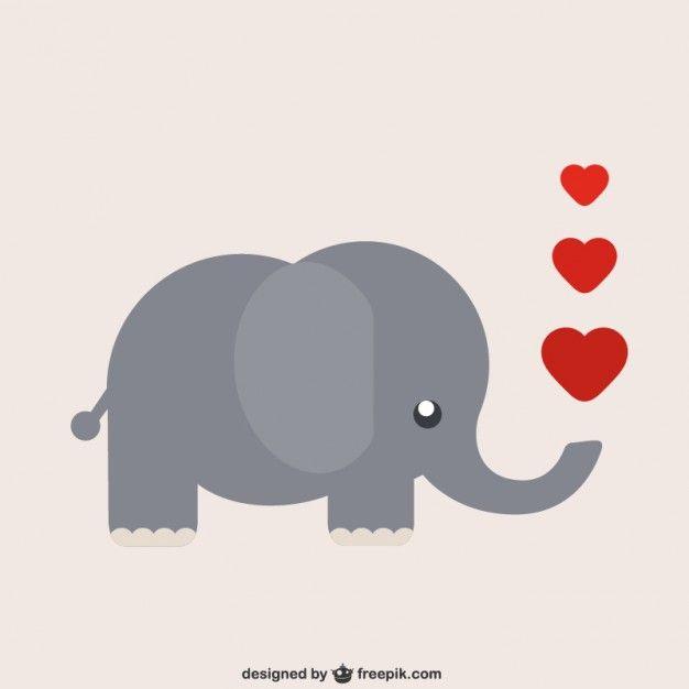 Elefante dos desenhos animados com corações