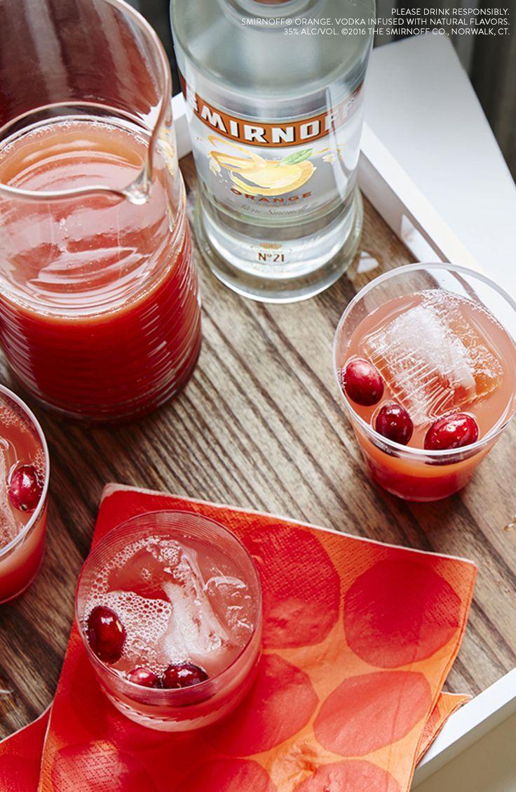 Vodka Orange Cranberry  Just mix 1.5 oz Smirnoff Orange, 5 oz Cranberry Juice, add Cranberries for Garnish.