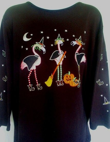 WOMENS FUNNY FLAMINGO HALLOWEEN TOP