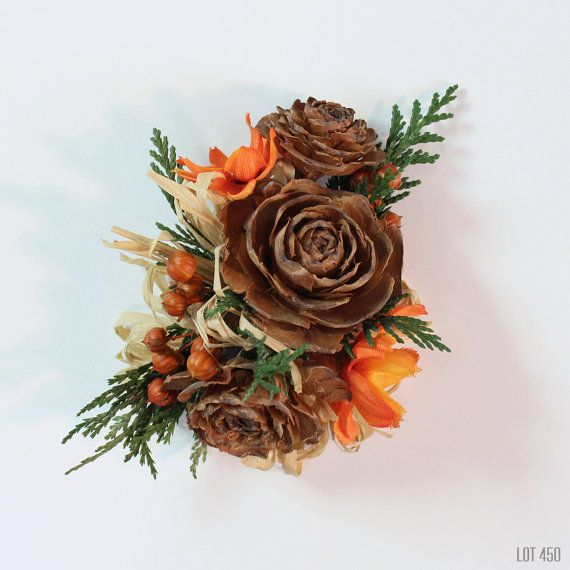 Cedar Rose Corsage with Orange Silk Flowers Raffia by Lot450shop