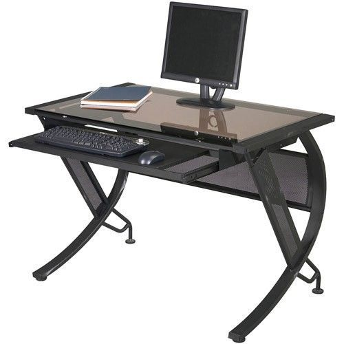 Modern Computer Desk Office Home Table Black Pull Out Keyboard Tray Glass Laptop #ModernComputerDesk #Modern