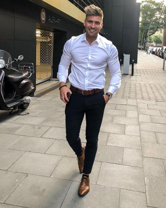 Brown shoes outfit, White shirt men