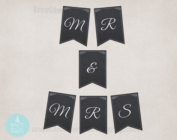 Mr & Mrs Chalkboard Bunting  Wedding Banner by InviteMe2Party