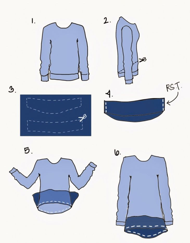 got a banded sweater that's seen better days? get rid of the ribbed band and update with a flowy peplum