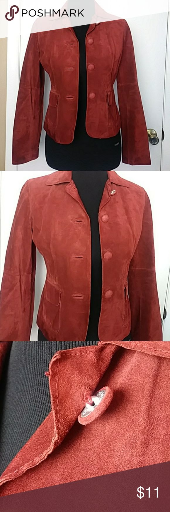Ann Taylor 100% leather maroon blazer sz XSP Ann Taylor 100% leather maroon blazer sz extra small petites. Floopy button on top, shown in pic Ann Taylor Jackets & Coats Blazers