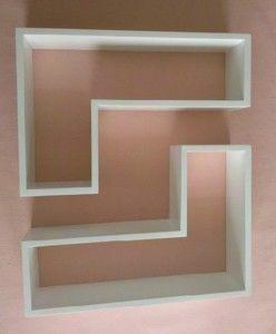 Set of 2 Matt Floating L shaped Wall Shelves Storage Cube 50x30cm White & Black   eBay