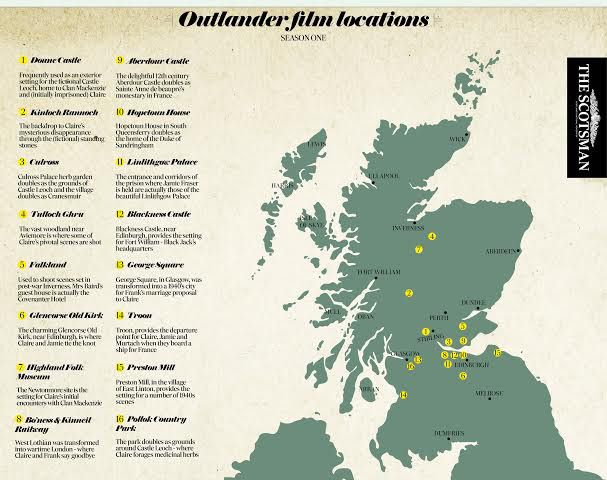 Map of Outlander filming locations.