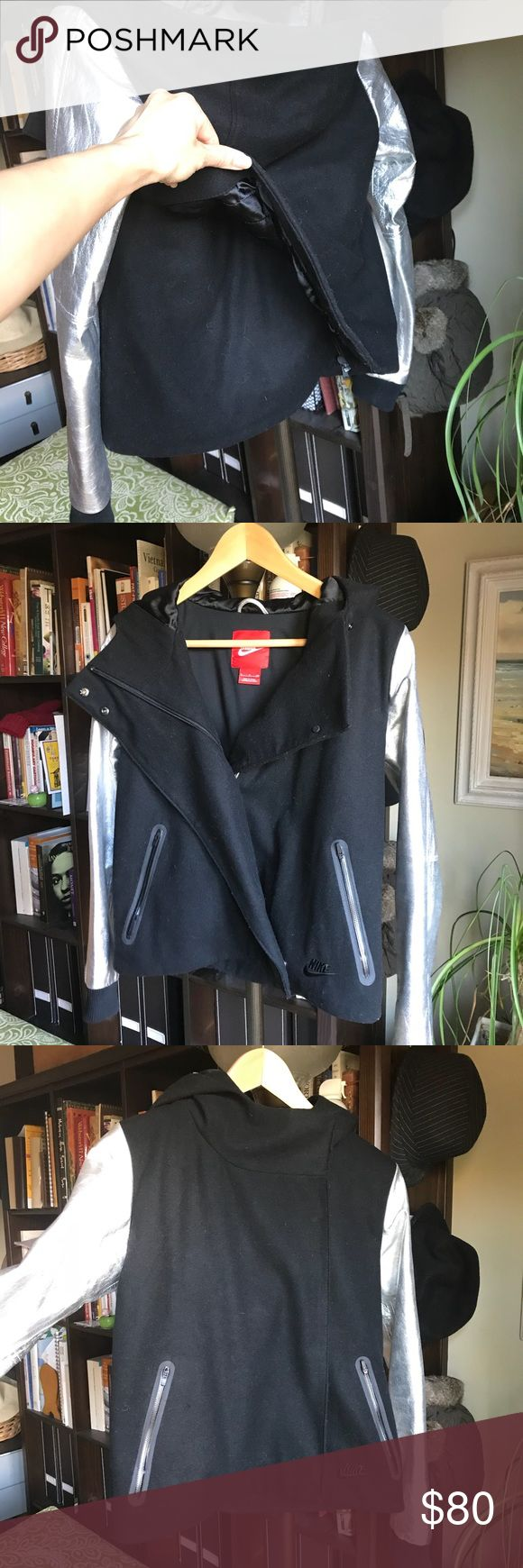 Limited edition Nike sports jacket Wool and leather moto style sports jacket. Worn twice. Statement piece. Spliced back details. Im allergic to wool! :( Jackets & Coats