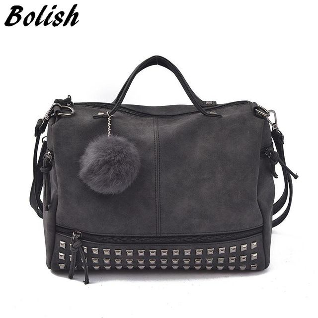 Limited Offer $16.46, Buy Bolish Vintage Nubuck Leather Female Top-handle Bags Rivet Larger Women Bags Hair Ball Shoulder Bag Motorcycle Messenger Bag
