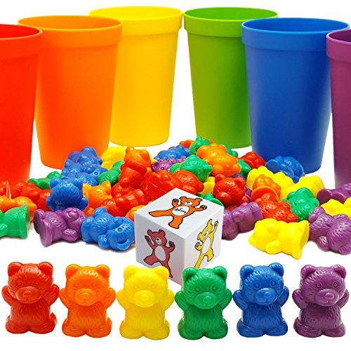 Skoolzy Rainbow Counting Bears with Matching Sorting Cups, Bear Counters and Dice Math Toddler Games 70pc Set