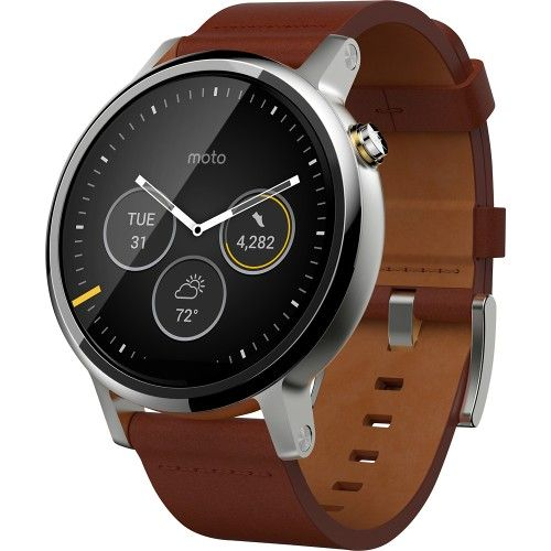 Motorola - Moto 360 2nd Generation Men's 46mm Smartwatch for Most Apple® iOS and Android Cell Phones - Silver/Cognac - Angle Zoom