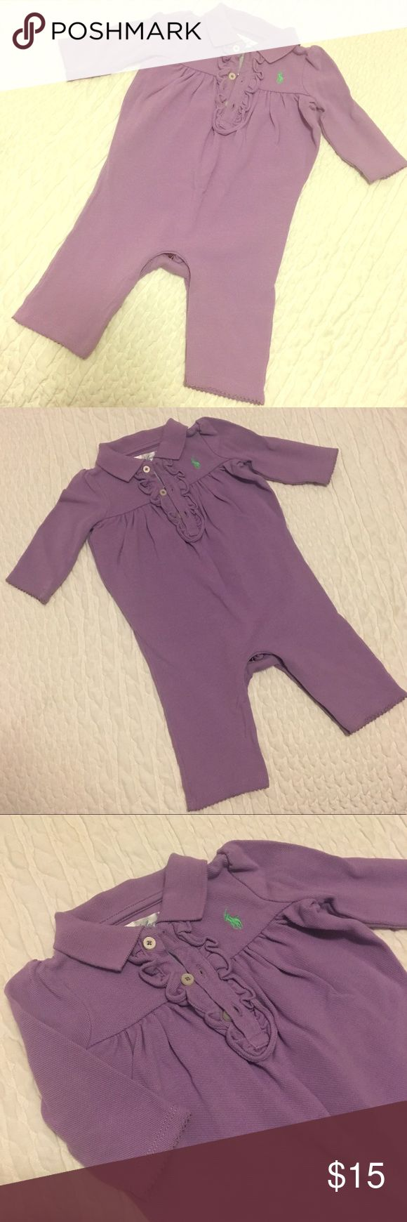 Ralph Lauren Purple Ruffled Jumper, Size 3Mo Darling and girly purple pique polo jumper!! Excellent condition, like new!! Adorable ruffles around the collar. So comfy, a great piece! Ralph Lauren One Pieces