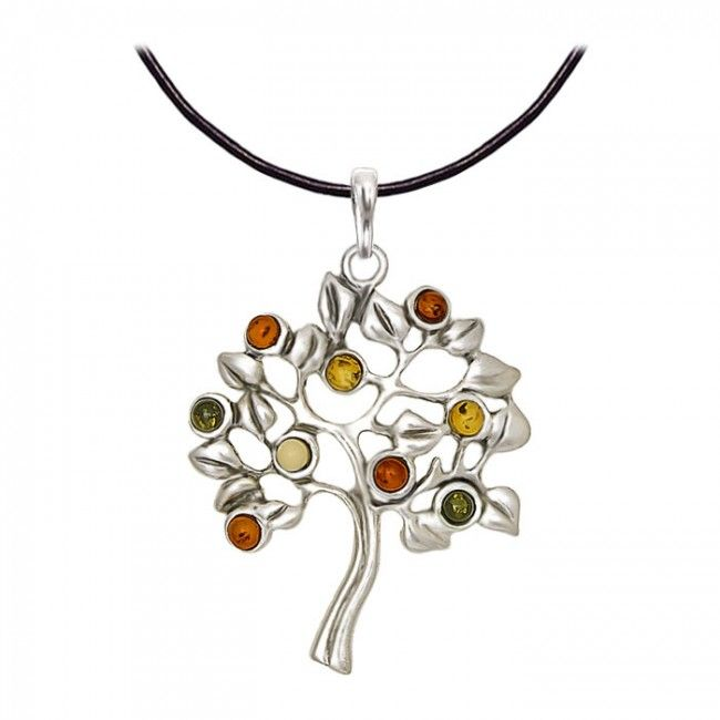 Amber Tree of Life Pendant with Leather Cord Option