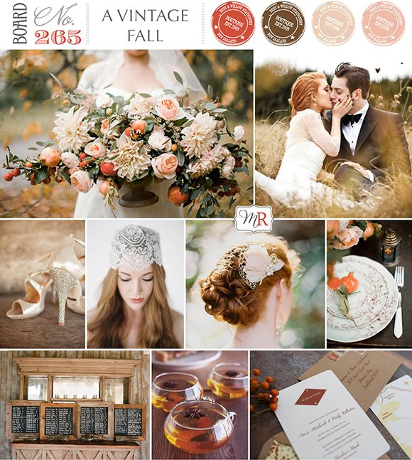 A Vintage Fall Wedding Inspiration Board No 265a from Magnolia Rouge