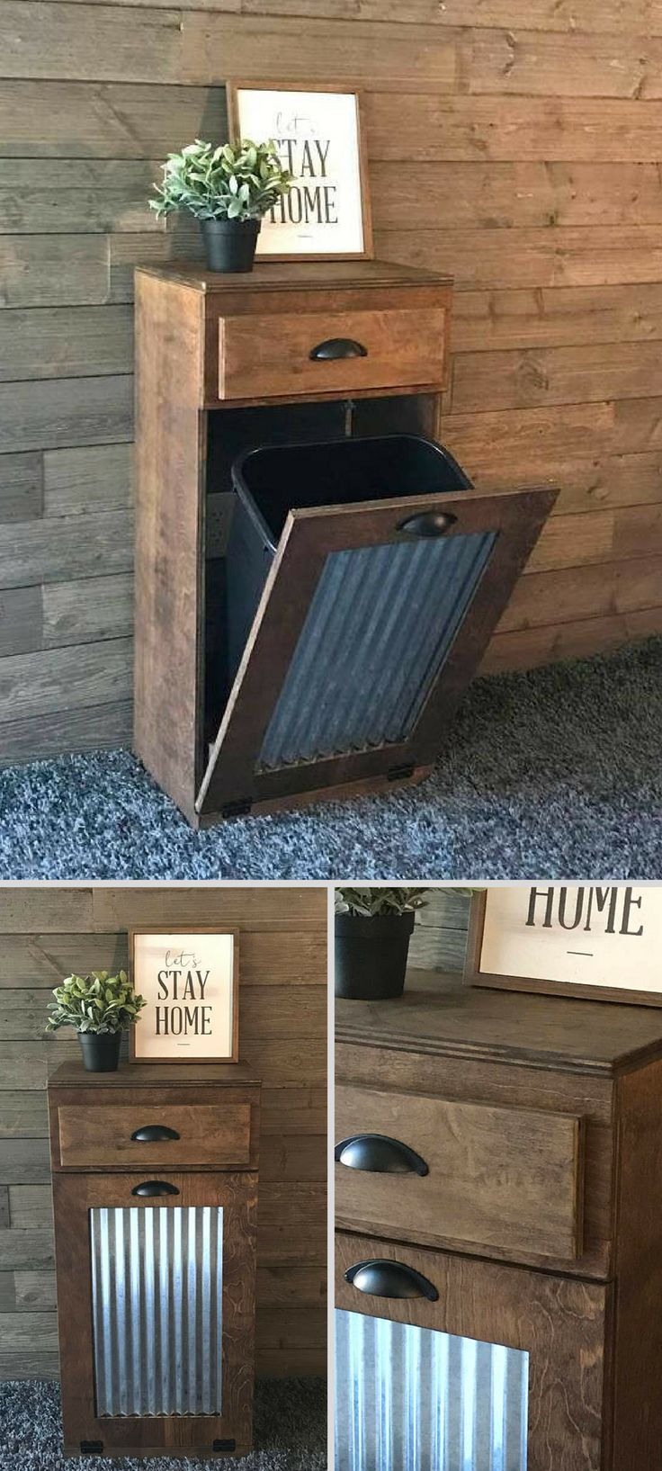 This is exactly what I've been looking for.  A tilt out trash bin is so much better than a plain trash can. Love that this one has a drawer for storing trash bags. #farmhouse #ad #rustic