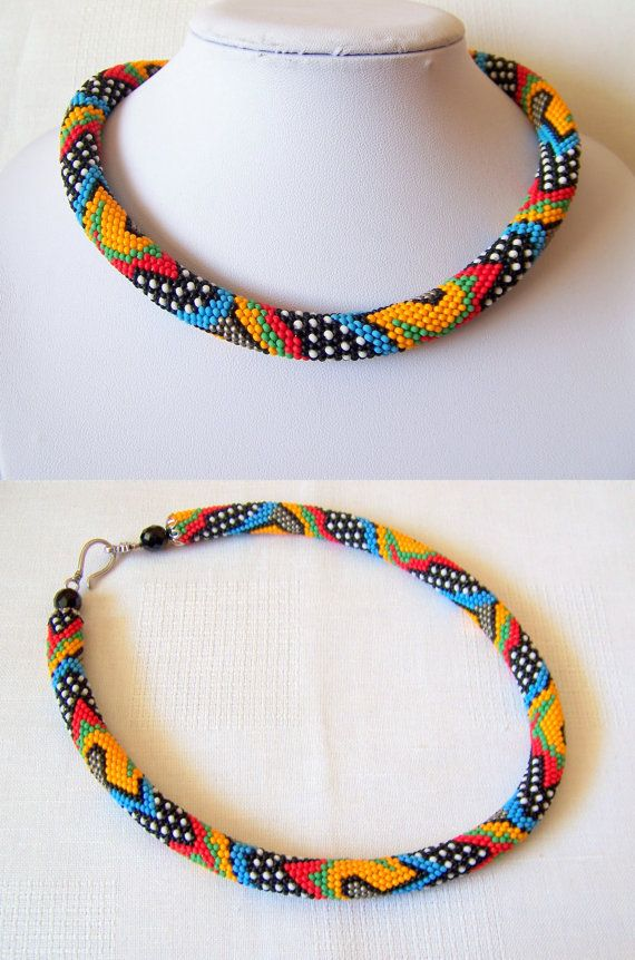 Bead crochet colorful necklace with geometric pattern