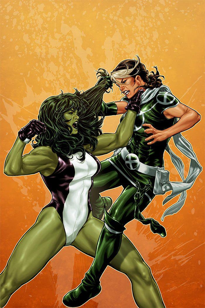 She-Hulk/Rogue by Mark Brooks