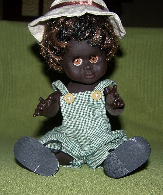 Metti Piccaninny doll.      The Piccaninny doll is getting harder to find but I managed to track her down even though someone dressed her in this cute outfit.  Piccaninny doll no longer produced.