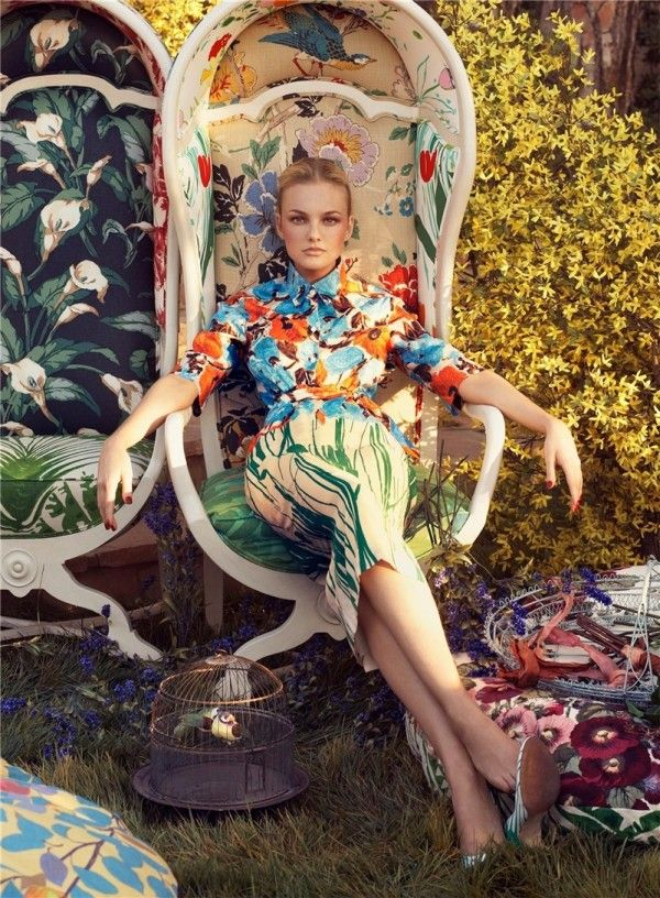 Caroline Trentini models for Vogue Living supplement | Photo by Steven Meisel #floral