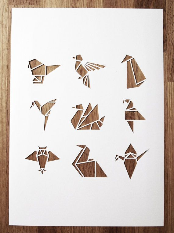 White origami bird A4 papercut by sarahlouisematthews on Etsy, £10.00