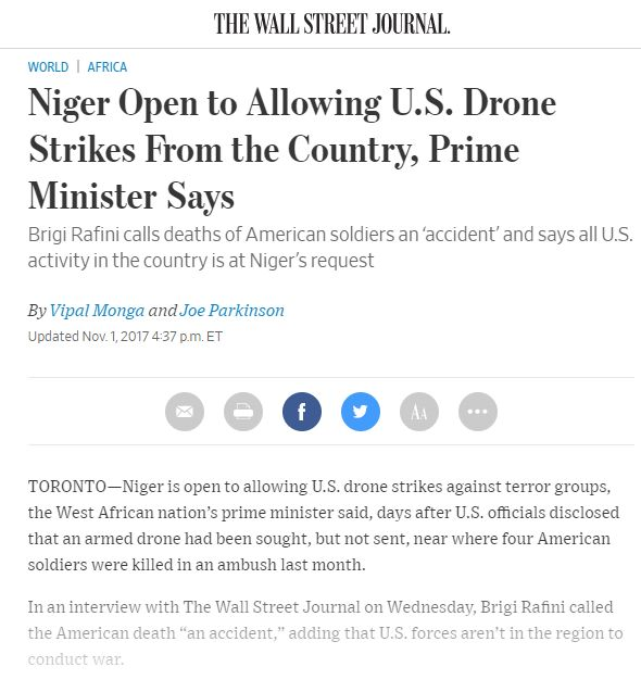 Niger Open to Allowing U.S. Drone Strikes From the Country, Prime Minister Says