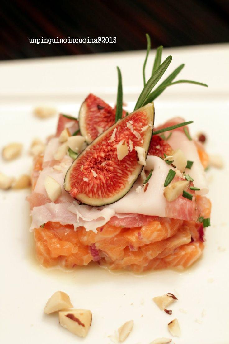 Salmon Tartare with Lardo and Figs - Tartare di salmone con lardo e fichi