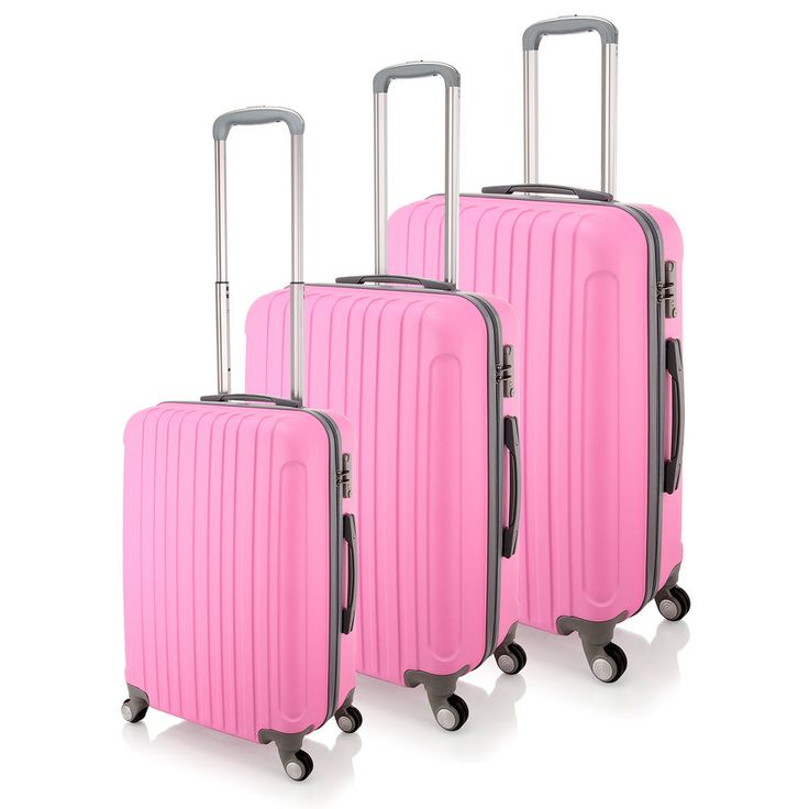 Luggage ABS Suitcase Trolley Hard Case Carry On Lightweight & TSA Lock - Pink