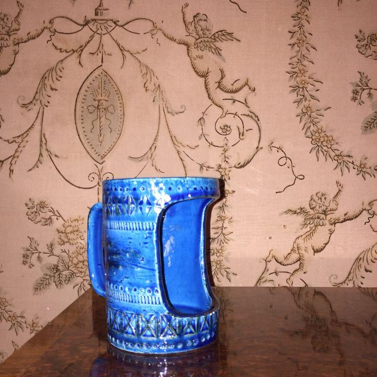 Bitossi Rimini Blu candle holder. Mid-Century Italian Ceramics. Aldo Londi.