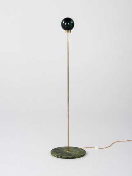 PARE Floor Lamp 01 - Midnight Glass and a Verde Marble base