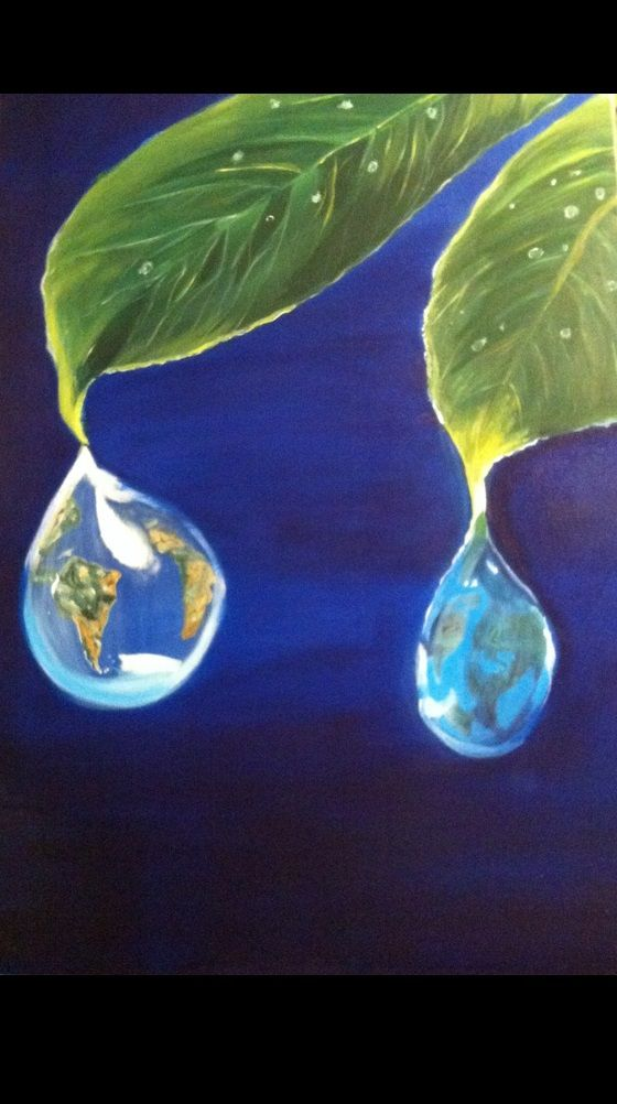 Il mondo in goccia, olio su tela 70x50