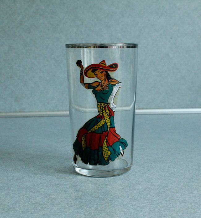 Vintage Silver Rimmed Mexican Burlesque Woman Female Dancer Naughty Nude Kitsch Drinking Glass