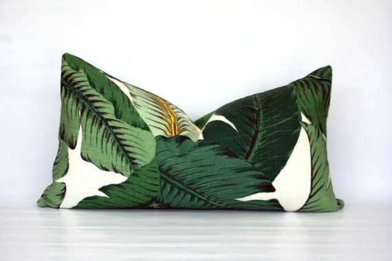 Palm Beach Style Pillows : Banana leaves lumbar pillow cover - Palm Beach, Hollywood Regency, Tropical, Hawaiian ...