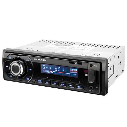Som Automotivo Multilaser Talk com Rádio FM, Bluetooth, Entradas USB, SD e Auxiliar P2