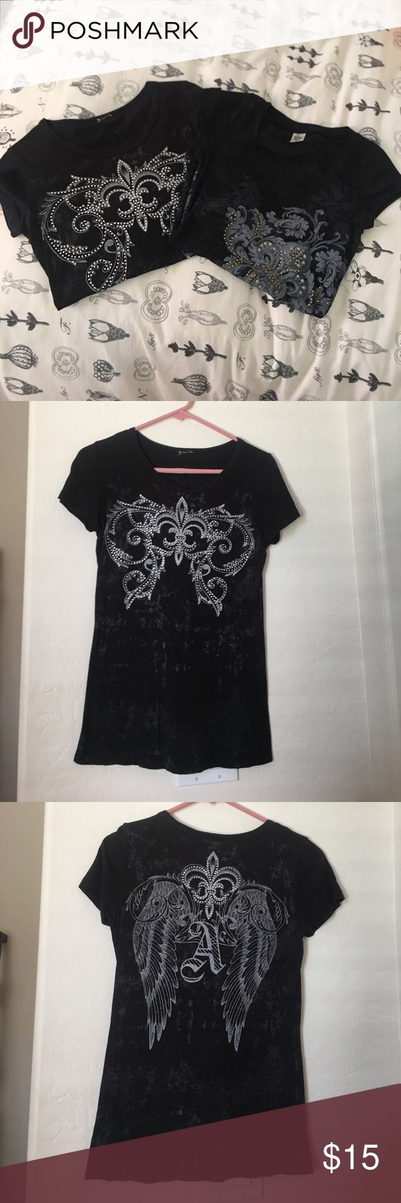 Black Bling Shirt Bundle! Worn but still in great shape! Both size Small! Open to all offers :) Tops Tees - Short Sleeve