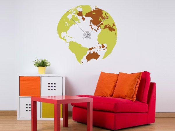 Wandtattoo Weltuhr in bunten Farben als als kreative Wanduhr fürs Jugendzimmer. Die XXL-Uhr gibt es in vielen Farbkombinationen.