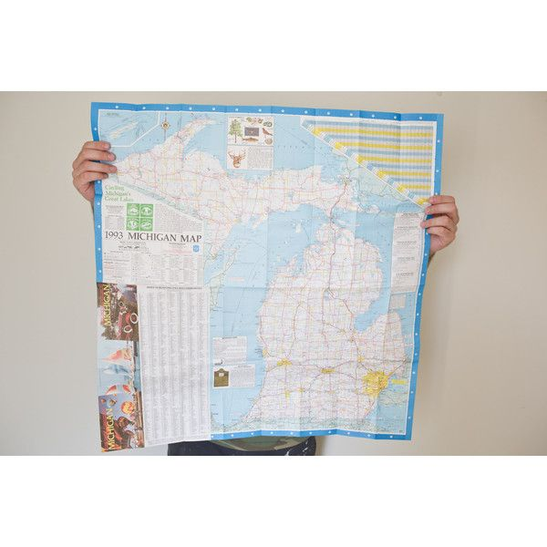 Vintage Michigan Map Michigan State Map US Map USA Map of Michigan... (49 SEK) ❤ liked on Polyvore featuring home, home decor, wall art, vintage wall art, framed wall art, map home decor, vintage home decor and vintage home accessories