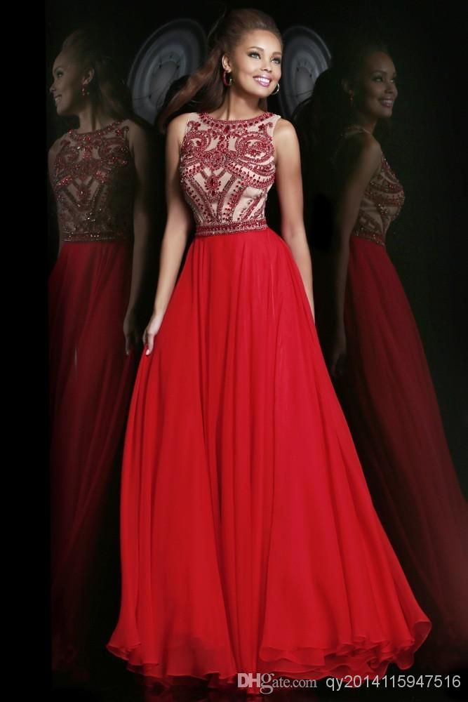 Cheap Prom Dress - Discount Sleeves Nude Back Chiffon Long Prom Dresses Formal Online with $145.55/Piece | DHgate