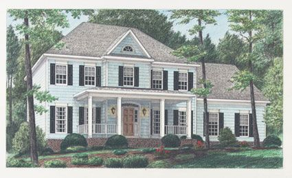 The front porch adds charm to this 4 bedroom colonial for Colonial house plans with porch