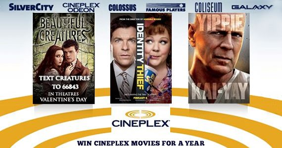 Contest to Win Cineplex Movies for a Year
