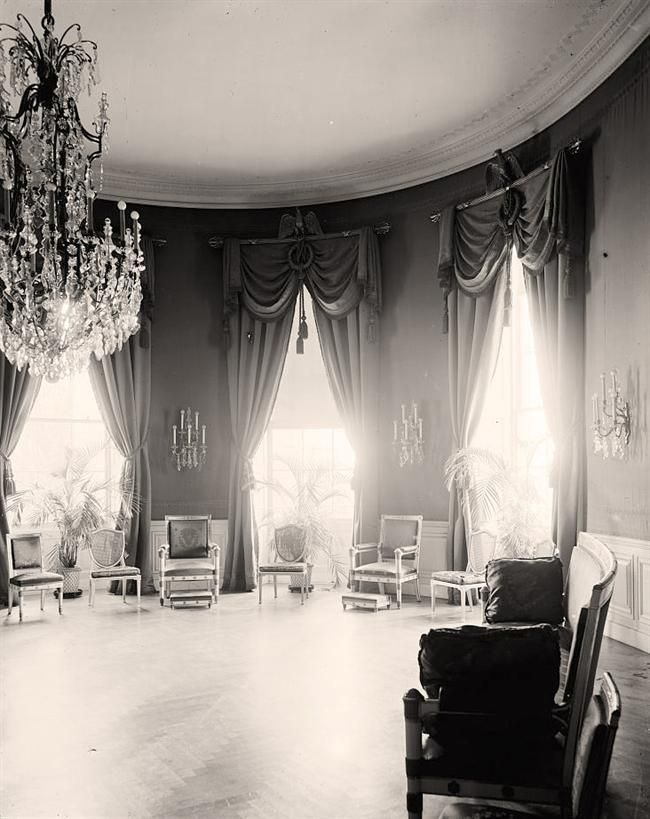 White House. Blue Room Here we present a collectible picture of White House. Blue Room. It was taken between 1905 and 1945 by Harris & Ewing.   The image illustrates United States.