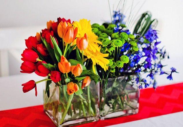 Rainbow party flower centerpiece