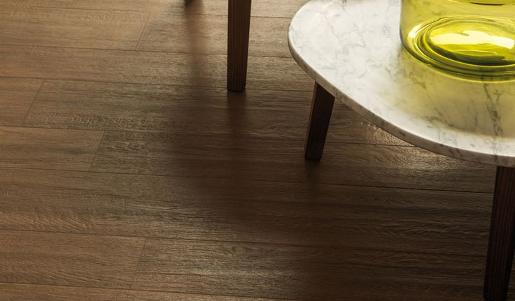 Landscape 'Walnut Dark' wood-effect Porcelain floor and wall tiles. Natural finish. Available in 180cm or 120cm length, 26.5cm, 20cm or 16cm width, or mixed widths in one length. #innovative #interiordesign #woodeffect #walnut #porcelain #tiles